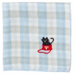 にゃんこハンカチ 黒猫(チェック) 刺繍入りガーゼハンカチ スーベニール Cat pattern embroidered gauze handkerchief