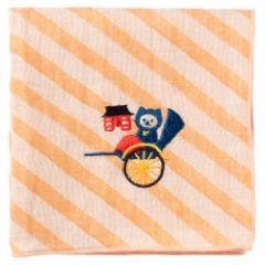NYANJA 刺繍ハンカチ東京 人力車 ずっとこっちみてる猫の忍者 スーベニール Embroidered gauze handkerchief