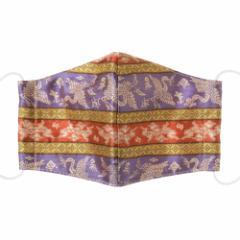京都 あらいそ 西陣織名物裂 和装マスク051 段雲鶴宝入紹巴 正絹織物とガーゼを組み合わせた和風スタイルマスク 男女兼用 Kyoto ni