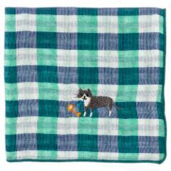 にゃんこハンカチ くつ下猫(チェック) 刺繍入りガーゼハンカチ スーベニール Cat pattern embroidered gauze handkerchief