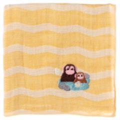 温泉動物ハンカチ サル 刺繍入りガーゼハンカチ スーベニール Animal illustration embroidered gauze handkerchief
