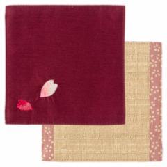 百道発信 花便り コースター レッド (IKI-1463) リバーシブル 11×11cm 福岡県の布製品 Fabric coaster, Fukuoka craft