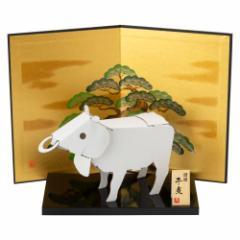 ダンボール干支工作キット 丑(牛) 黒塗り台+屏風セット のりもはさみも使わずに組み立てられるペーパークラフト Cardboard craft