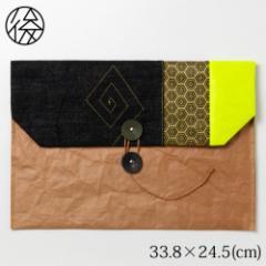 お出かけ封筒ヨコ型(A4サイズ)004 米袋封筒のちほど Handbag made of rice bag
