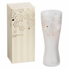 泡づくりプレミアム桜Lビアグラス 1個入り プレミアムニッポンテイストシリーズ Sakura-patterned beer glass