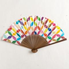 【扇子】女房扇 彩り七宝おとし色 (SB-001) 和紙の扇子6寸5分 和詩倶楽部 Sensu fan, Washi-club