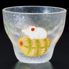 めでた干支 盃 子(ねずみ) 猪口 ガラス酒器 Sake glass of Japanese zodiac