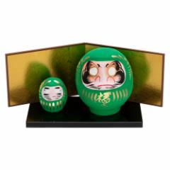 高崎だるま 健康祈願の緑だるまセット 2号+0.3号だるま 群馬県指定ふるさと伝統工芸品 Takasaki daruma, Good health, Gunmaken tra