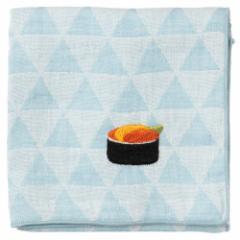 寿司ハンカチ うに うろこ模様 刺繍入りガーゼハンカチ スーベニール Japanese pattern embroidered gauze handkerchief