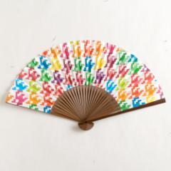 【扇子】女房扇 彩り千鳥千鳥格子 (SB-003) 和紙の扇子6寸5分 和詩倶楽部 Sensu fan, Washi-club