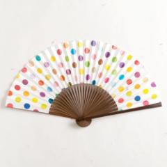 【扇子】女房扇 彩り水玉 (SB-004) 和紙の扇子6寸5分 和詩倶楽部 Sensu fan, Washi-club ※在庫限り