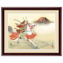 日本画 端午の節句画 白馬武者 F4サイズ 長江桂舟 インテリアアート額絵