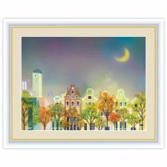 街路樹のある風景 月夜の町並み F6サイズ 横田友宏 インテリアアート額絵
