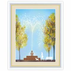 街路樹のある風景 噴水公園 F6サイズ 横田友宏 インテリアアート額絵