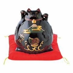 【内祝い 招福 開運 置物 お返し】リュウコドウ 猫貯金箱(大) 黒 018-107<※【出産内祝い 父の日 初節句 出産祝い ギフト 結婚内祝い