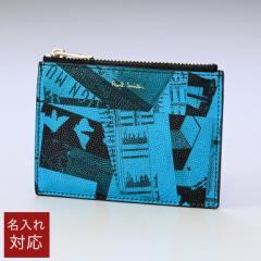 ポールスミス 財布 ミニ財布 メンズ スマートウォレット コインケース フラグメントケース ブラック ターコイズ 6396 ECOLPR 41 Made in