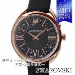 母の日 ギフト 名入れ無料 スワロフスキー 腕時計 Crystalline Glam ウォッチ レディース ローズゴールド×ブラックレザーベルト 5452452