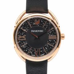 母の日 ギフト スワロフスキー 腕時計 Crystalline Glam ウォッチ レディース ローズゴールド×ブラックレザーベルト 5452452 送料無料
