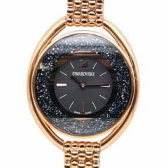 母の日 ギフト スワロフスキー 腕時計 Crystalline Oval ウォッチ ピンクゴールド ブラック 5480507 送料無料