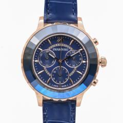 母の日 ギフト スワロフスキー 腕時計 OCTEA LUX CHRONO ウォッチ レディース ローズゴールド/ブルー 5563480 送料無料