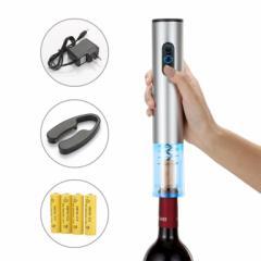 電動ワインオープナー、自動式ワインオープナー、アルミ合金、コードレスバッテリ駆動、ホイルカッター付き、メタリックペイント、シルバ