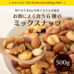ミックスナッツ 500g 塩味 送料無料 1000円 ポッキリ 6種 アーモンド くるみ ジャイアントコーン バタピー 薄皮ピーナッツ かぼちゃの種