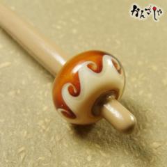 かんざしや とんぼ玉 かんざし 波 茶 現品限り 1点もの 髪飾り ヘアアクセサリー