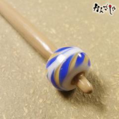かんざしや とんぼ玉 かんざし フェザー柄 短め 現品限り 1点もの 髪飾り ヘアアクセサリー