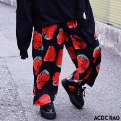 イチゴワイドパンツ パンク ロック ファッション V系 病みかわいい 病み 原宿 原宿系 パンツ ワイドパンツ ロング メンズ レディース 派