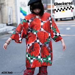 Cストロベリー ヒュージTシャツ 半袖 パンク ロック V系 ファッション バンギャ 原宿系 原宿 病み 病みかわいい 派手カワ 個性的 イチゴ