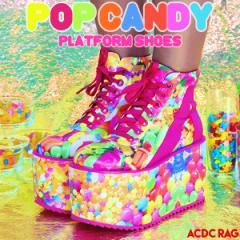 POPキャンディプラットフォームシューズ 厚底 ブーツ スニーカー 靴 ハイカット ラバーソール ラバソ 原宿系 ファッション かわいい デコ