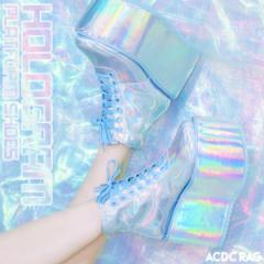 ホログラムプラットフォームシューズ 厚底 ブーツ スニーカー 靴 ハイカット ラバーソール ラバソ 原宿系 ファッション かわいい デコラ