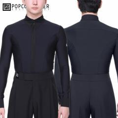 【サイズM-XL】 社交ダンス 男性 練習着 シャツ ポップコンアトリエ PopconAtelier カーブ・ダンスシャツ(ブラック) 社交ダンス衣装 メン