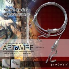ピクチャーレール用 ワイヤー フック2個 2.0m 2本セット 自在 金具 展示用 額縁 絵画 棚 無段階調節 ARTWIY-2