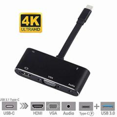 HDMI変換アダプタ USB C 4K 5in1 Type-C HDMI VGA Audio USB 3.0ポート MacBook Pro USB メスポート 変換 ケーブル HHENKAN