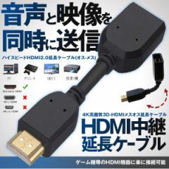 HDMIメスオス延長ケーブル 4K 高画質 3D HDMIメス オス 延長ケーブル タイプA 変換 HDMI中継 10cm HDMENCHO