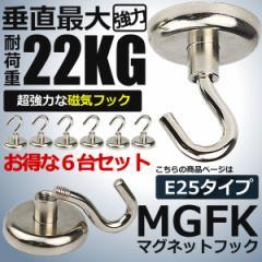強力マグネットフック6個セット E25タイプ 耐荷重 22kg 超強力 磁石フック 金属製 キッチン お風呂 反転 頑丈 TC-E25