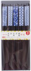 日本製(福井県) 食洗機対応若狭塗箸 黒塗箸陶器柄5膳セット 長さ22.5cm