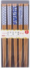 日本製(福井県) 食洗機対応若狭塗箸 すす竹陶器柄5膳セット 長さ22.5cm