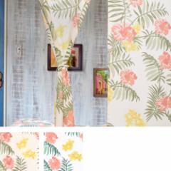 ハワイアン風のれん ハイビスカスでおしゃれに カフェタペストリー 85×150cm ホワイト ナチュラル