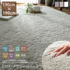 ラグ 洗える ラグマット 190×190cm 2畳 手洗い 抗ウイルス 抗菌 日本製 国産 滑り止め 防ダニ 防炎 ホットカーペット対応 床暖房対応 屋