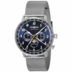 ツェッペリン ヒンデンブルク 7036M-3 メンズ 腕時計 クオーツ ミラネーゼブレス ネイビー ムーンフェイズ