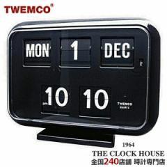 TWEMCO トゥエンコ 掛置兼用 パタパタ時計 フリップクロック パーペチュアルカレンダー ブラック QD-35