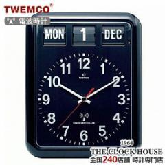 TWEMCO トゥエンコ 電波 掛時計 パタパタ時計 フリップクロック パーペチュアルカレンダー ブラック RC-12A