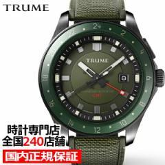 TRUME トゥルーム Lコレクション ブレークライン TR-ME2003 メンズ 腕時計 自動巻発電 GMT セラミックベゼル ナイロンバンド グリーン
