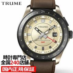 TRUME トゥルーム Lコレクション ブレークライン TR-ME2004 メンズ 腕時計 自動巻発電 GMT セラミックベゼル レザーバンド ブラウン