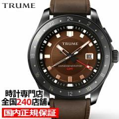 TRUME トゥルーム Lコレクション ブレークライン TR-ME2005 メンズ 腕時計 自動巻発電 GMT セラミックベゼル レザーバンド ブラウン エプ