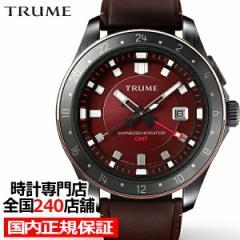 TRUME トゥルーム Lコレクション ブレークライン 販売店限定モデル TR-ME2006 メンズ 腕時計 自動巻発電 GMT セラミック レザー レッド
