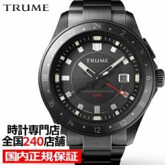 TRUME トゥルーム Lコレクション ブレークライン TR-ME2008 メンズ 腕時計 自動巻発電 GMT セラミックベゼル メタルバンド ブラック エプ