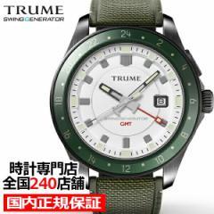 TRUME トゥルーム Lコレクション ブレークライン TR-ME2010 メンズ 腕時計 自動巻発電 GMT セラミックベゼル ナイロンバンド ホワイト